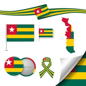 Insieme di elementi di bandiera con il togo