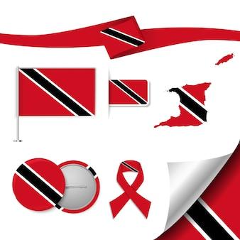 Insieme di elementi di bandiera con trinidad e tobago