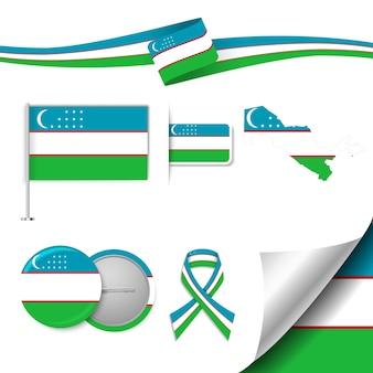 Insieme di elementi di bandiera con l'uzbekistan