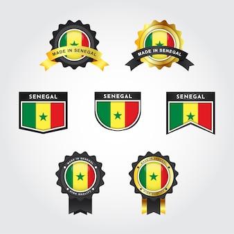 Impostare la bandiera del senegal e realizzato in senegal con il design del modello di etichetta distintivo dell'emblema