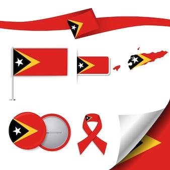 Set di bandiera con elementi timor orientale