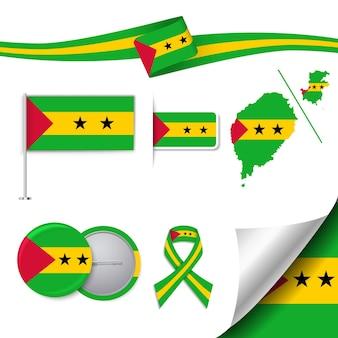 Set di bandiera con elementi sao tomé e principe