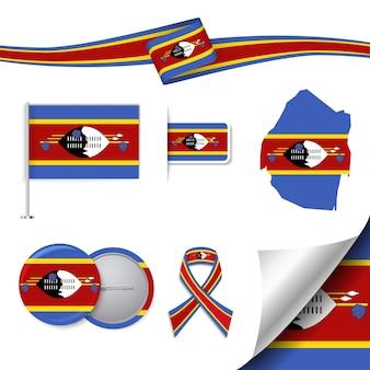 Set di bandiera con elementi dello swaziland