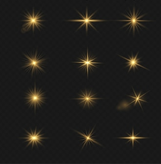 Set di effetti di luce flash, lenti speciali per la luce solare. bagliori e riflessi dorati luminosi