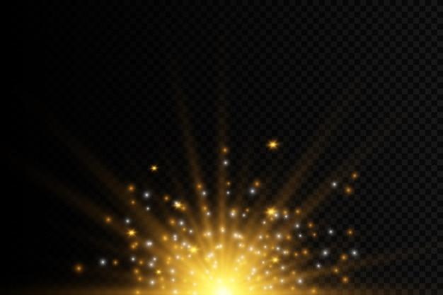 Serie di lampi, luci e scintillii. lampi e riflessi dorati. luci dorate astratte isolate raggi luminosi luminosi. linee luminose