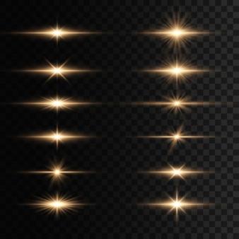 Set di lampi, luci e scintillii. bagliori e riflessi dorati luminosi. luci dorate isolate raggi luminosi luminosi. linee luminose.
