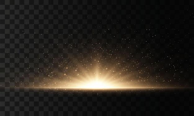 Set di lampi, luci e scintillii. bagliori e riflessi dorati luminosi.