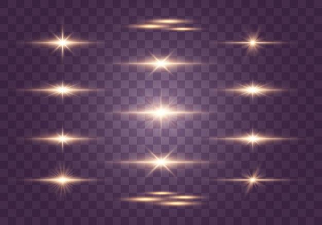 Set di flash luci e scintillii brillanti riflessi dorati, dorati raggi luminosi di luce linee luminose