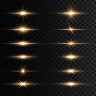 Set di lampi, luci e scintillii su uno sfondo trasparente. bagliori e riflessi dorati luminosi. indicatori luminosi dorati astratti isolati raggi luminosi luminosi. linee luminose. illustrazione