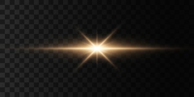 Set di lampi, luci e scintillii su uno sfondo trasparente. lampi e riflessi dorati. luci dorate astratte isolate. raggi luminosi.