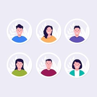Set di illustrazioni avatar piatto