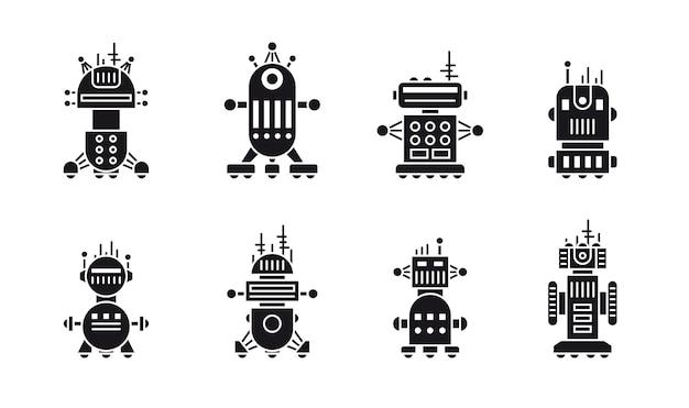 Set di robot sagoma piatta in bianco e nero isolato su priorità bassa bianca