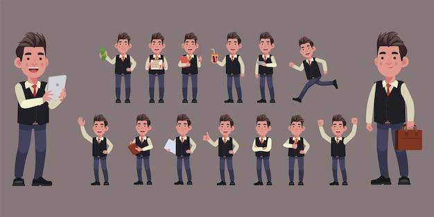 Set di uomini d'affari piatti con pose diverse
