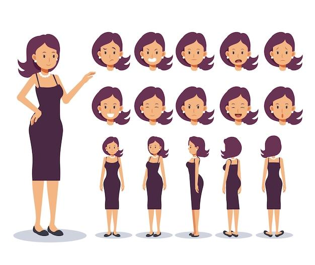 Set di donna personaggio piatto indossare abbigliamento casual con vari punti di vista, in stile cartone animato.