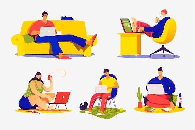 Insieme delle illustrazioni di concetto piatto