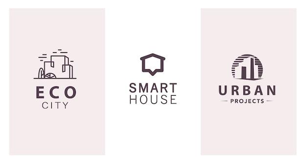 Set di design del marchio di società di costruzioni piatte