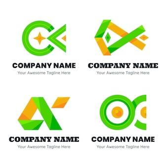 Set di modelli di logo alfa design piatto