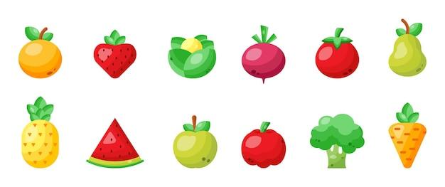 Set di frutta e verdura dal design piatto