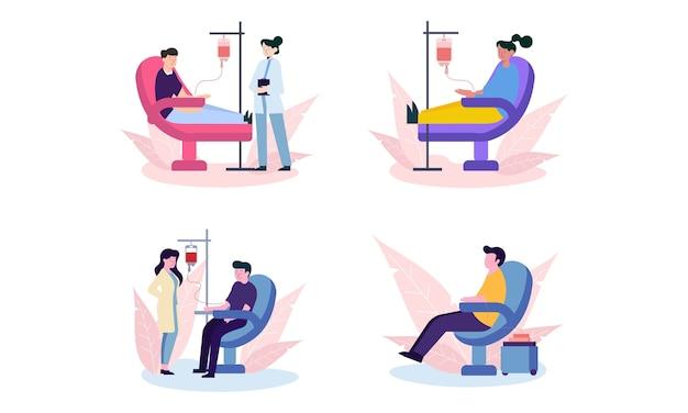 Set di design piatto di persone che donano illustrazione di sangue