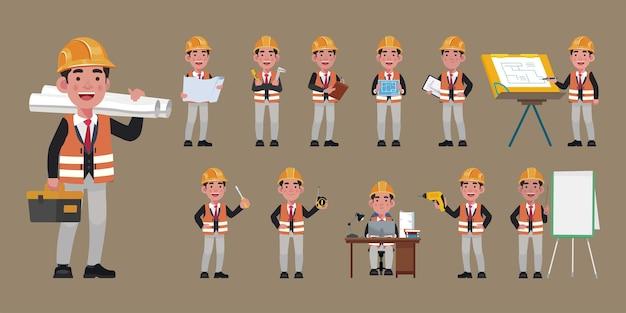 Set di ingegnere piatto con diverse pose