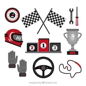 Set di elementi di formula 1 piatta
