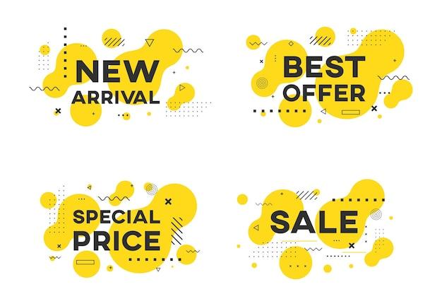 Set di banner promozionali vendita piatto geometrico disegno vettoriale. nuovo arrivo, migliore offerta, adesivi a prezzo speciale.