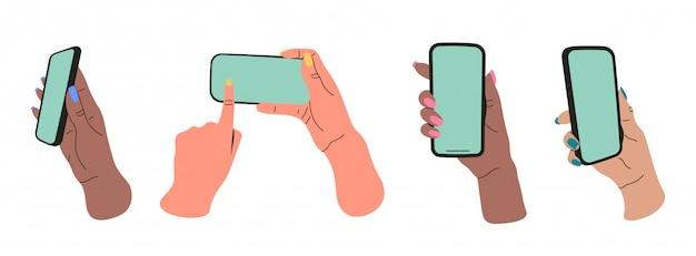 Set di mani piatte ragazza che tengono gli smartphone. comunicazione, concetto di social network. illustrazione disegnata a mano stilizzata