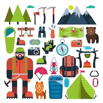 Impostare l'alpinismo icona piatto