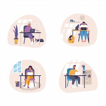 Serie di illustrazioni piatte - persone sedute alla scrivania con computer portatili e lavorare a casa. lavoro a distanza di concetto dell'illustrazione di lavoro di tendenza dall'idea domestica.