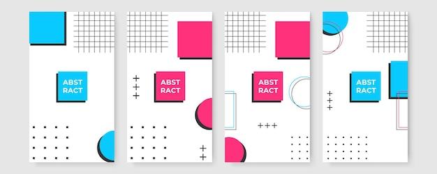 Set di sfondo piatto moderno memphis per certificato o modello di storia dei social media