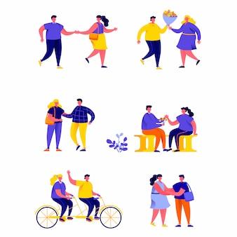 Set di ragazza solitaria persone piatte circondata da personaggi di coppie romantiche felici