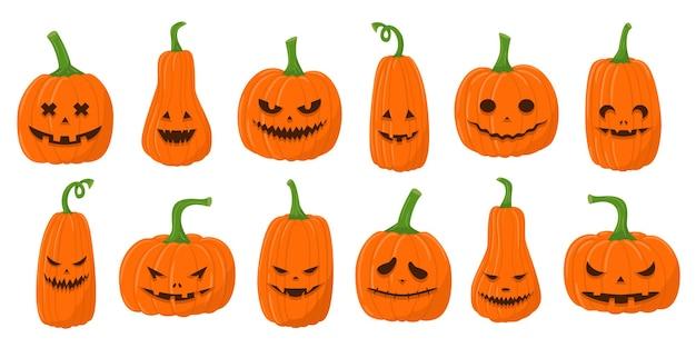 Set di zucche piatte con facce inquietanti. lanterne di zucca di halloween con diverse espressioni facciali