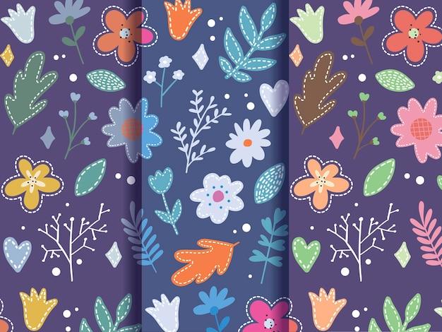 Set di fiori di primavera piatta pattern