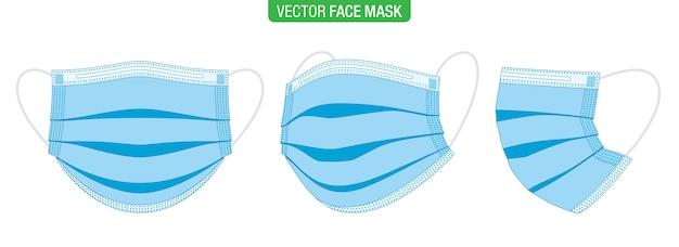 Set di maschere mediche stile piatto, blu, in diversi angoli di visione, isolati su bianco.