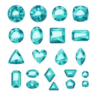 Set di gioielli verdi in stile piatto. pietre preziose colorate. smeraldi su sfondo bianco.
