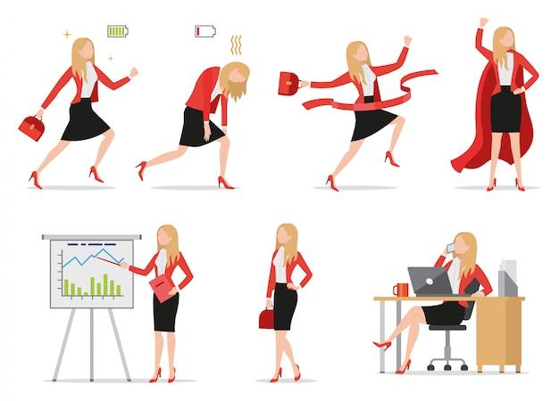 Set di icone di stile piano imprenditrice in diverse situazioni, segni di batteria verde e rosso, occupato femmina parlando al telefono, presentando la relazione finanziaria