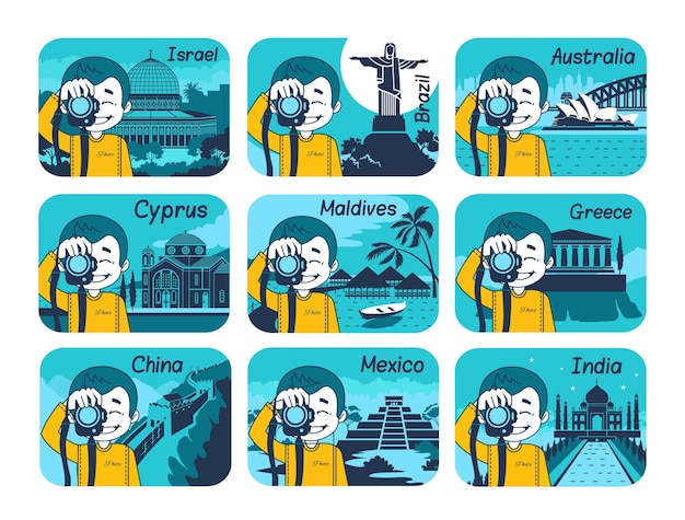 Set di icone di viaggio piatto con diversi paesi del mondo. viaggi e turismo