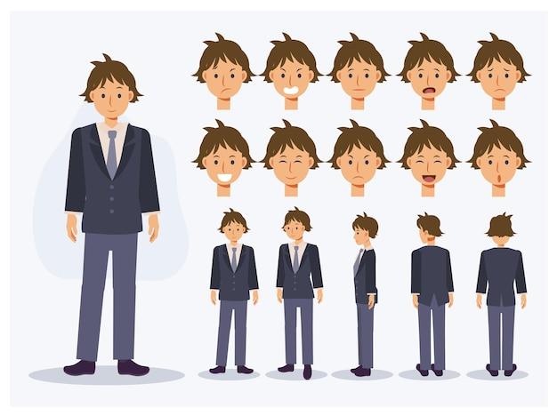 Set di carattere vettoriale piatto studente giapponese ragazzo in uniforme con varie viste, stile cartone animato.