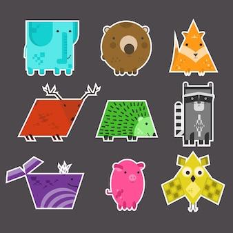 Set di adesivi per animali geometrici educativi per bambini carini vettoriali piatti fatti di forme diverse