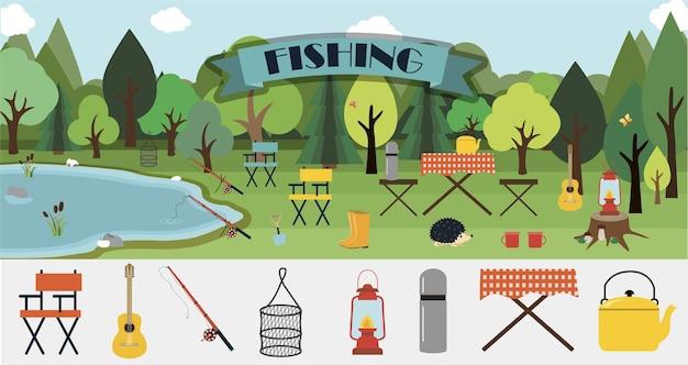 Una serie di volantini vettoriali piatti per la pesca estiva escursionismo picnic e turismo