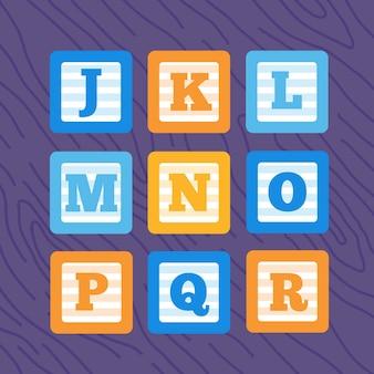 Insieme di blocchi di bambino alfabeto minimalista di vettore piatto.