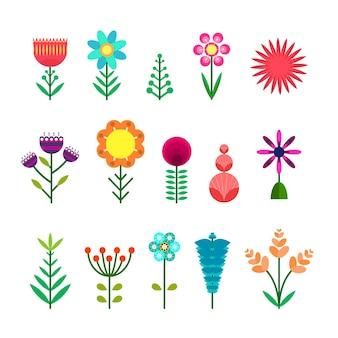 Insieme dei fiori astratti di colore semplice piatto vettoriale. simpatici elementi floreali colorati luminosi per adesivi, tag