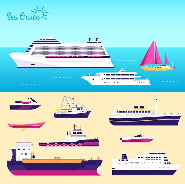 Set di illustrazione di yacht piatto