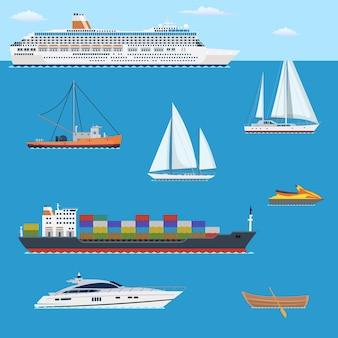 Set di yacht piatto, scooter, barca,