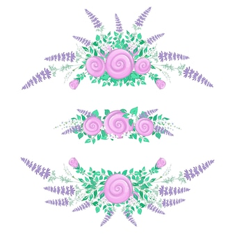 Set di composizioni floreali. rose stilizzate e fiori di campo. fiori estivi.