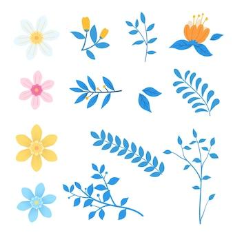 Set di fiori che sbocciano floreali