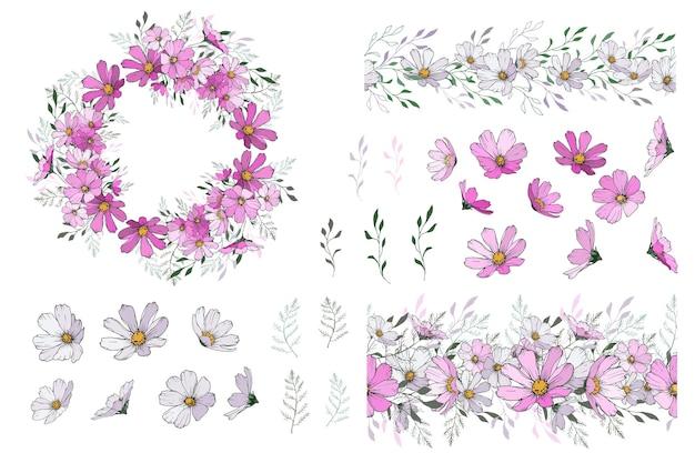 Set di elementi floreali: fiore cosmo, rami, pennelli senza soluzione di continuità, ghirlanda.