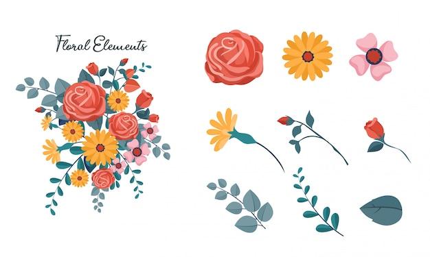 Insieme di elementi floreali