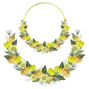 Set di cornici floreali, fiori carini con cornice a cerchio dorato e ghirlanda.