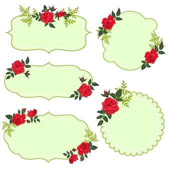 Set di etichette floreali isolare su sfondo bianco.